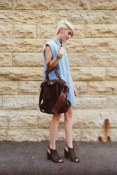 denim button-up thrifted dress - Givenchy bag - Rebecca Minkoff heels