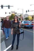 Dolce Vita boots - vintage blouse - Blank jeans - MJ sunglasses - Marc by Marc J