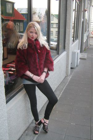 red jacket - black vintage shoes