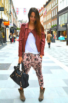Forever 21 jacket - balenciaga bag - Topshop pants