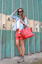 red Forever 21 skirt - Zara jacket - red Celine bag