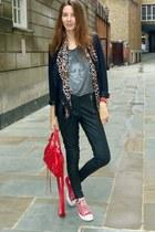 brandy melville t-shirt - Zara blazer - balenciaga bag - Miss Selfridge pants