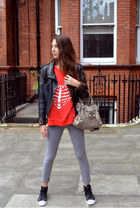H&M leggings - balenciaga bag - Wildfox jumper - Converse sneakers