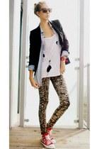 DIY sneakers - ffound leggings - Zara blazer - DIY t-shirt