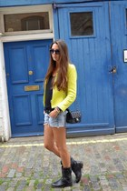 yellow Zara jacket - ASH boots - Chanel bag
