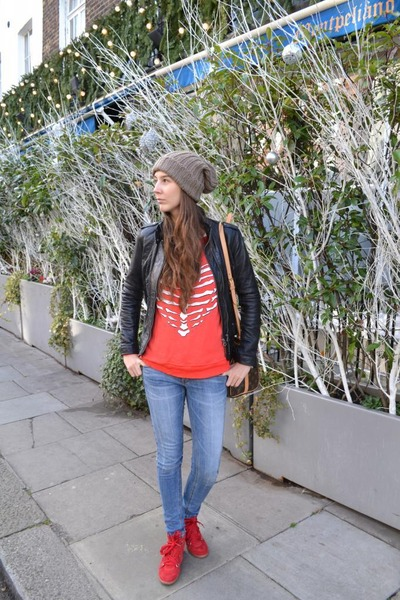 red Isabel Marant sneakers - Louis Vuitton bag - Wildfox sweatshirt