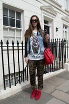 red Celine bag - Bershka jacket - Zara pants - Primark t-shirt