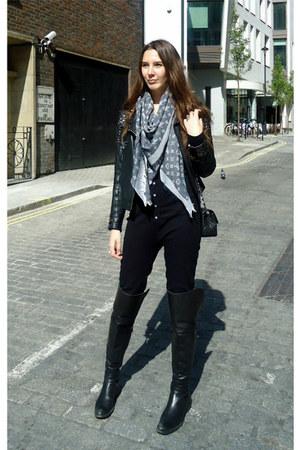 American Apparel sweater - Louis Vuitton scarf - Chanel bag