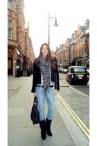 acne jeans - Balmain boots - Topshop jacket - Topshop bag