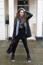 black Chanel sneakers - Bershka leggings - Louis Vuitton scarf - dior bag
