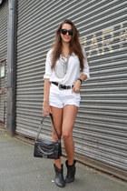 Chanel bag - ASH boots - eggshell Zara shirt - Primark shorts