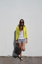 Zara jacket - Topshop bag - H&M shorts - Converse sandals