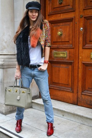 red The Box Boutique jacket - acne jeans - charlotte simone scarf - Hermes bag