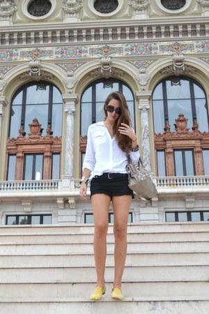 giacomorelli flats - balenciaga bag - Topshop shorts