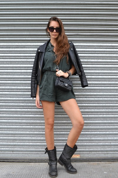 black ASH boots - black Chanel bag - River Island romper
