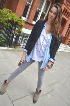 H&M leggings - Zara blazer - Louis Vuitton bag - Swatch watch - Wildfox t-shirt