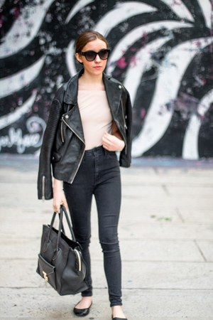 black high waisted Just Black Denim jeans - black leather jacket Topshop jacket