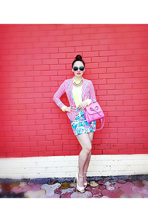 floral Forever 21 skirt - striped Zara blazer - neon American Eagle shirt