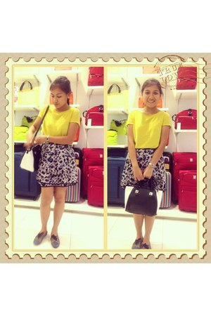 black Zara bag - Gold Dot shoes - yellow Mango blouse - Forever 21 skirt