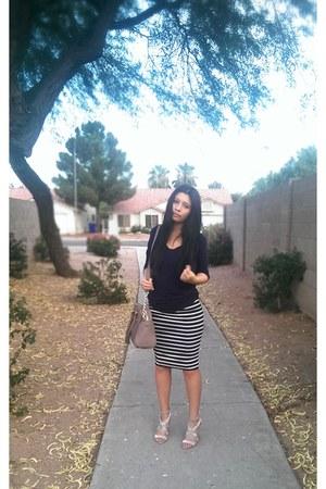 black Nordstrom skirt - navy Charlotte Russe shirt - michael kors TJ Maxx bag
