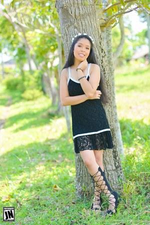 black black lace H&M dress - black lace up H&M sandals