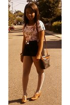 belt - Steve Madden shoes - vintage bag bag - black Mimi Chica shorts