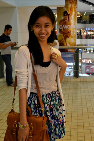 gold sm accessories ring - tawny from singapore bag - blue Forever 21 skirt