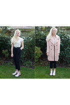 pink boyfriend Urban Outfitters coat - light pink boots