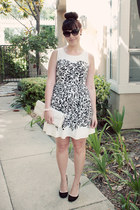 ivory floral print kohls dress - ivory clutch Forever 21 bag