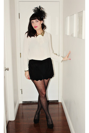 jewel  studded DIY heels - feathered Forever 21 hat - polka dot Tabio tights