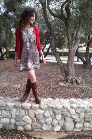 dark brown Bamboo boots - heather gray thrifted dress - red Forever 21 sweater