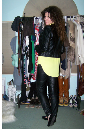 yellow mullet blouse Target blouse - black faux leather windsor jacket