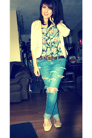 Pac Sun jeans - Candies blazer - Charlotte Russe flats - Forever 21 blouse