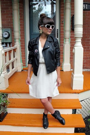 black thrifted shoes - eggshell Forever 21 dress - black jacket - heart shaped s