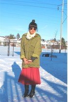 thrifted army jacket - red thrifted skirt