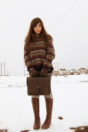 thrifted sweater - thrifted vintage boots - thrifted bag