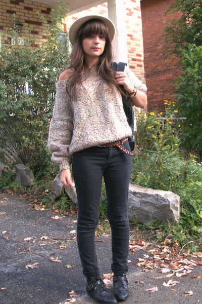 thrifted hat - thrifted sweater - thrifted pants - thrifted shoes - thrifted bel