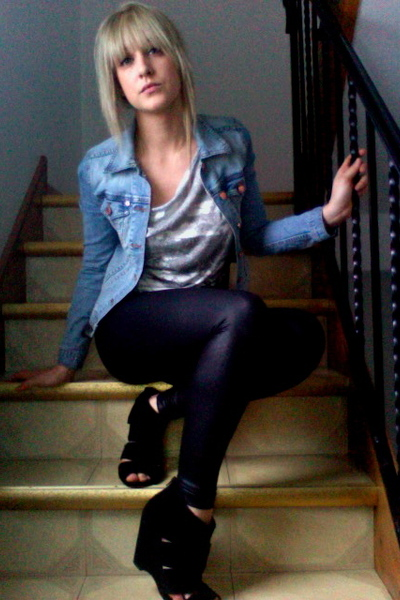 blue H&M jacket - black American Apparel leggings - gray Forever21 shirt