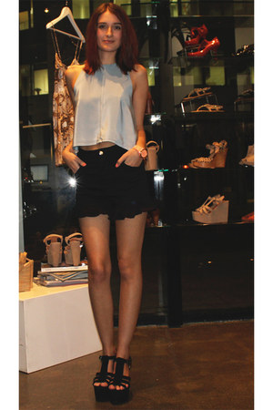 black Finders Keepers shorts - sky blue Batson top - black Diavolina wedges