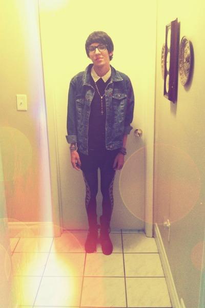 blue jean Gap jacket - black leggings - black H&M shirt
