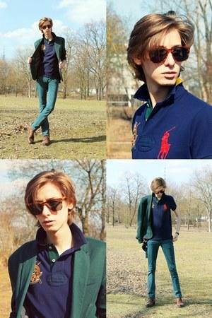 crimson Ralph Lauren sunglasses - crimson Zara boots - green Zara blazer