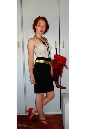 red heels - skirt