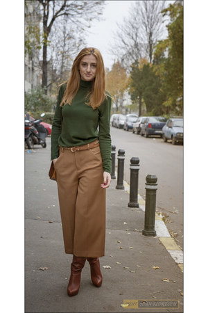 army green Zara blouse - mustard Zara pants - pants - brown Zara heels