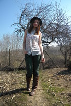 brown stone creek boots - off white Local store shirt - teal Bershka pants