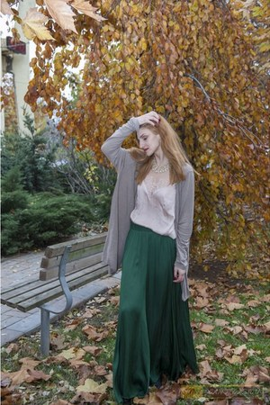 dark green Zara skirt - neutral silk H&M top