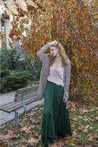 dark green Zara skirt - neutral silk H&M top