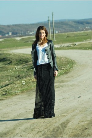 dark gray handmade skirt - dark gray vintage jacket - white Mango t-shirt