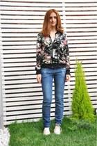 blue cotton jeans - white Converse sunglasses - hot pink Zara cardigan