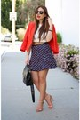 Red-bebe-jacket-navy-tweed-mini-h-m-skirt-tan-zara-heels