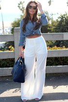 navy oversized Zara bag - sky blue Wet Seal top - ivory Tobi pants